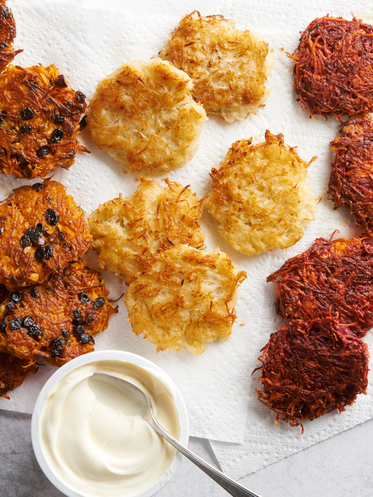sweet potato and currant latkes with sauce