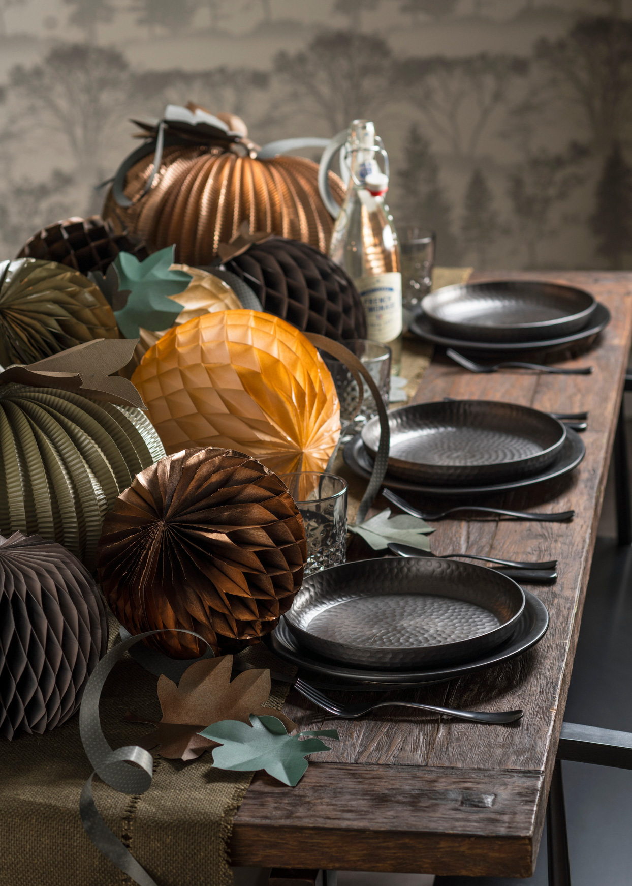 muted colored honeycomb paper pumpkin table centerpiece
