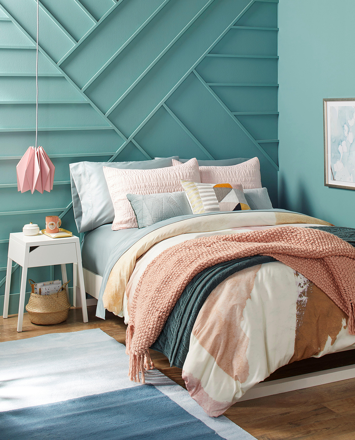 teal pink bedroom soft colors geometric wall paneling