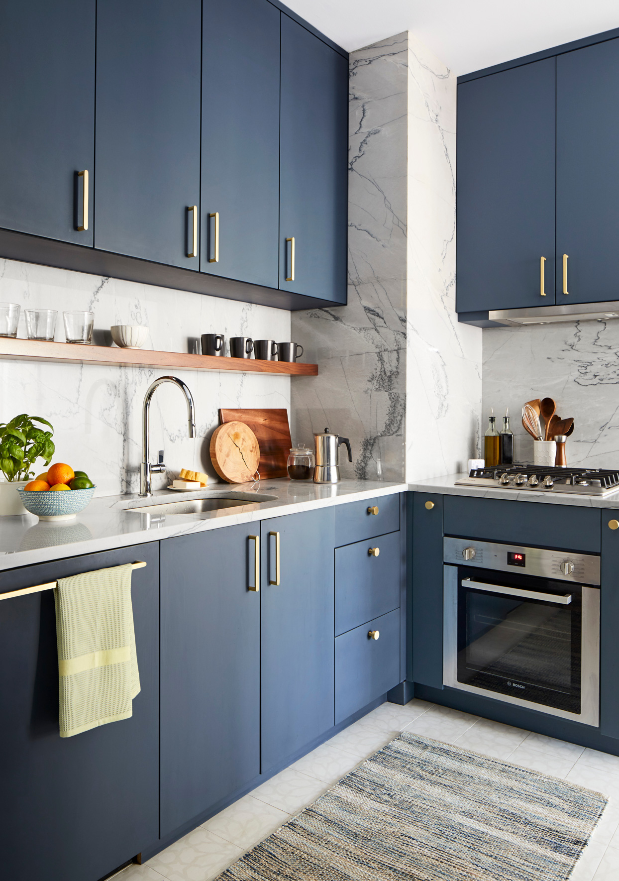 blue kitchen marble counters and walls