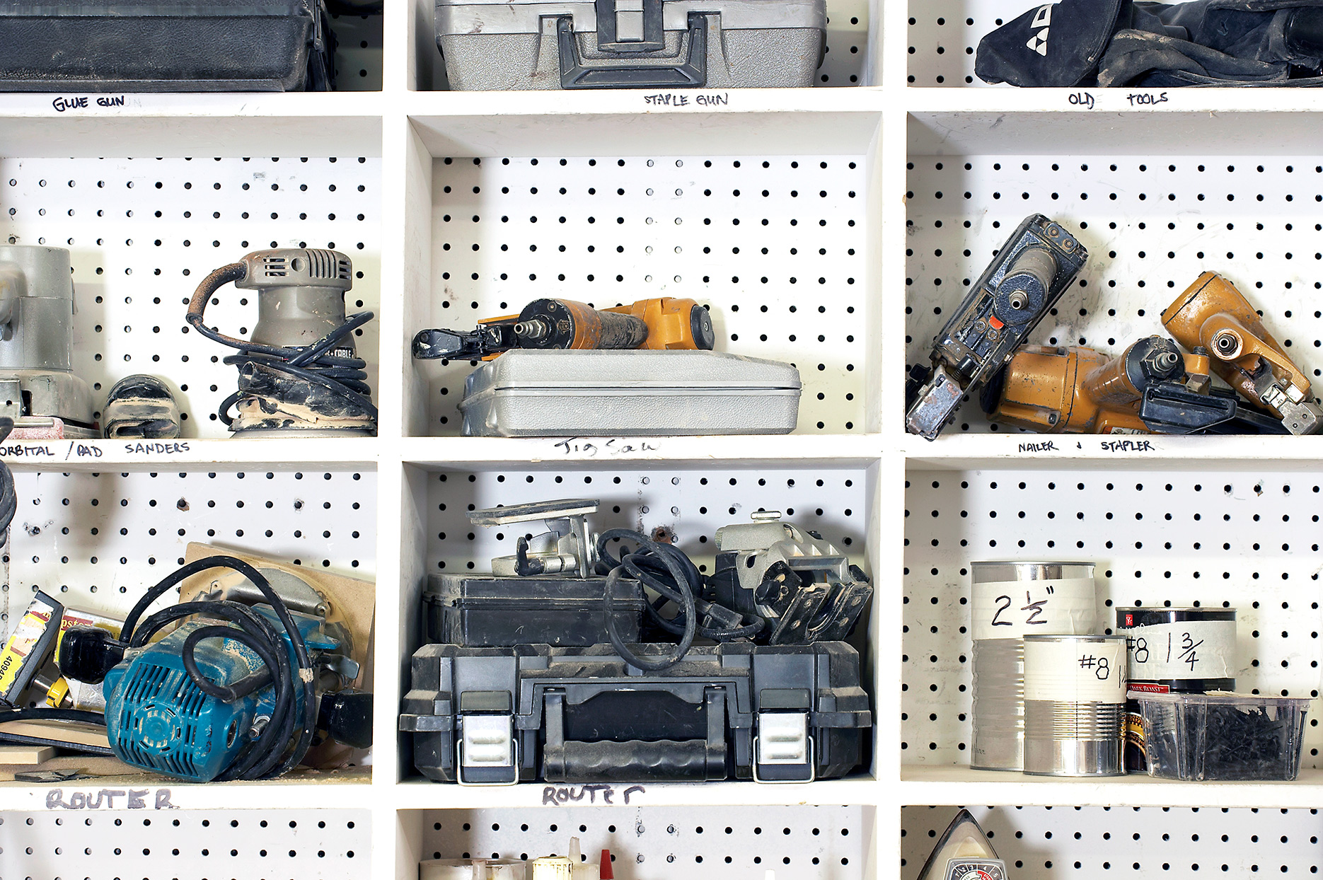 tools on peg board shelving in a tool lending library