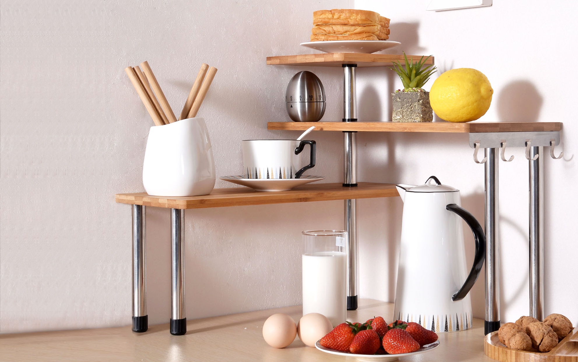 3 tier kitchen corner shelving unit made of bamboo and stainless steel with food and dishware