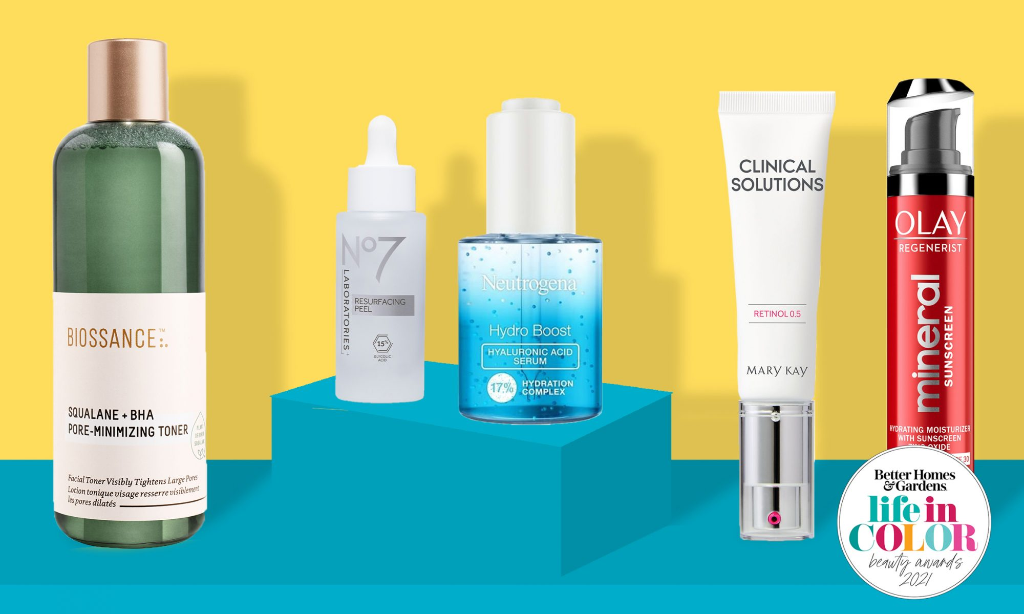 facial skincare products in blue and yellow environment