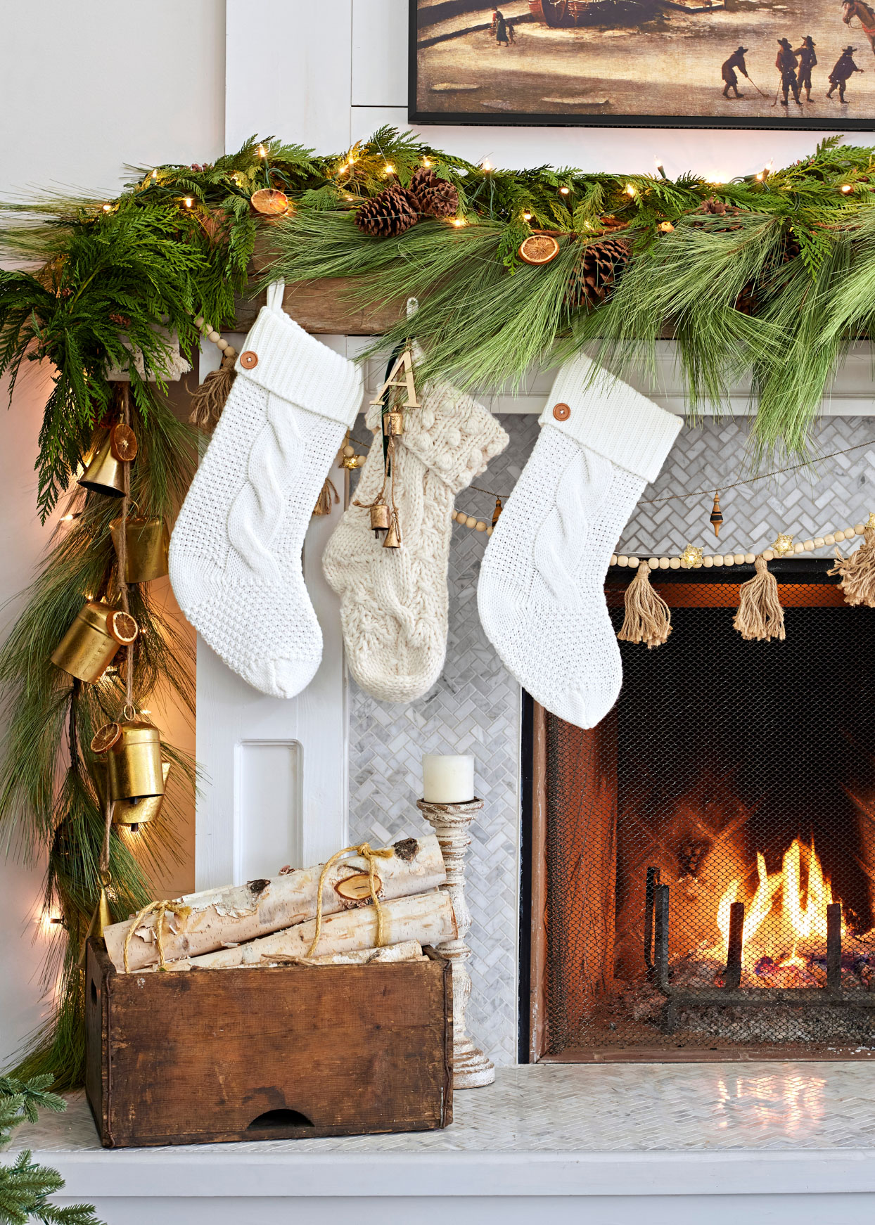 stockings hung on mantle over fireplace