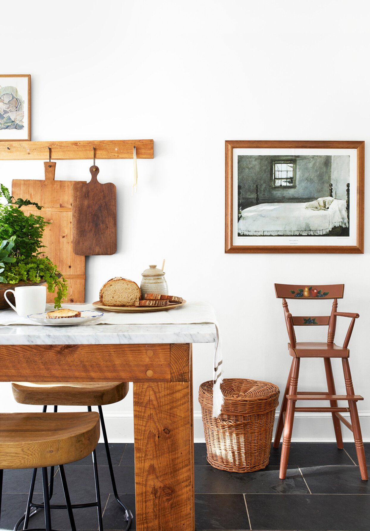 kitchen with wood accents and antique photograph