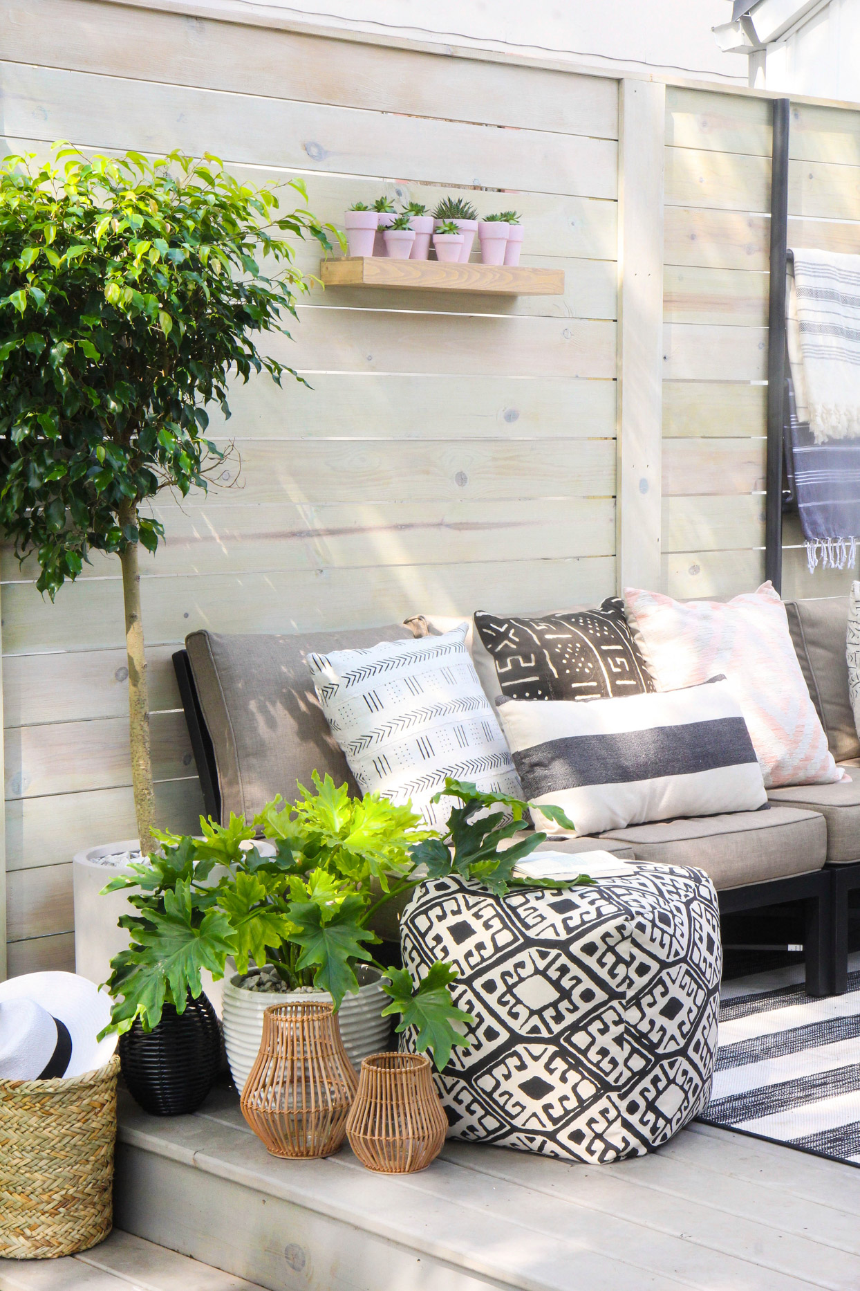 backyard seating area with shelf for plants