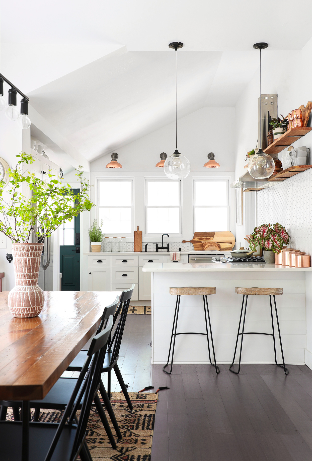 kitchen with wooden dining table