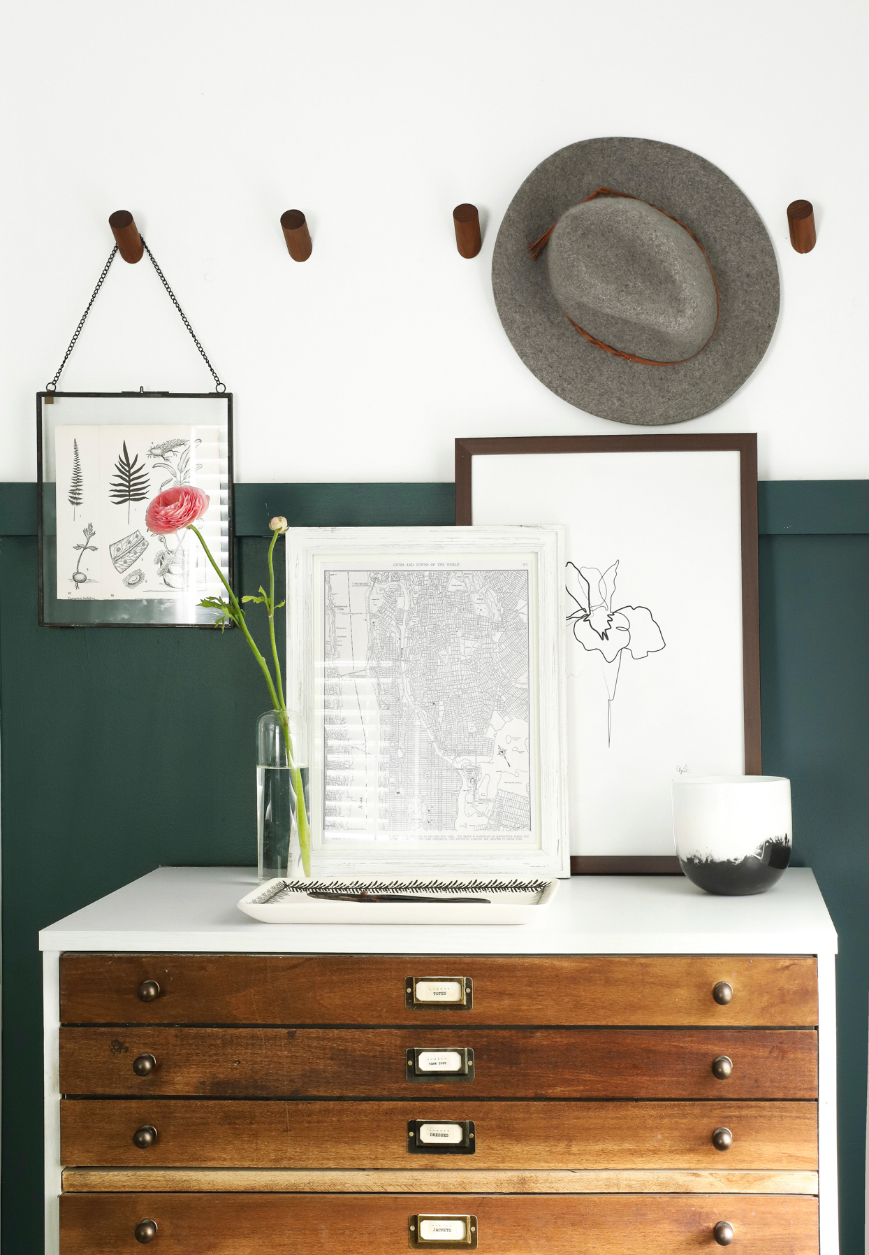 wooden cupboard with decor