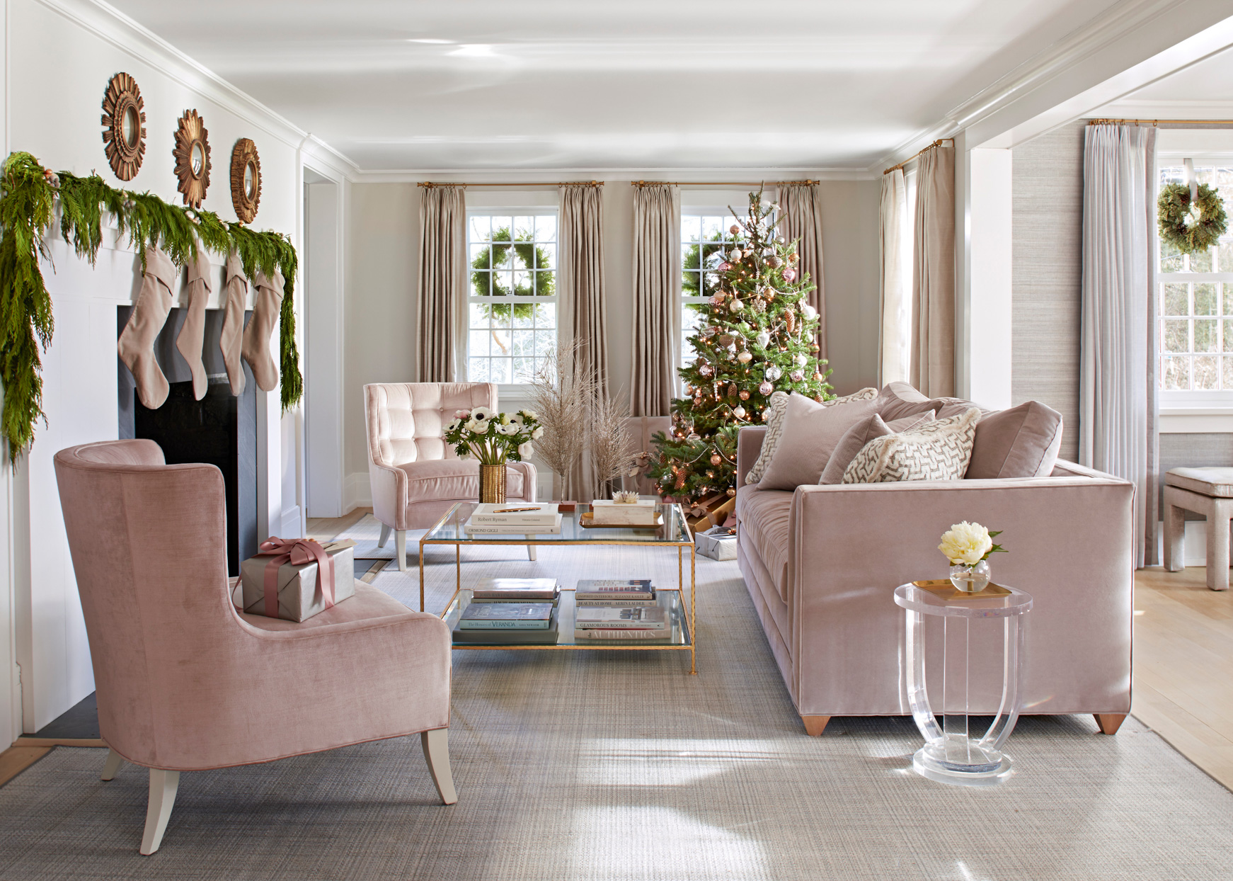 midcentury style living area with Christmas tree