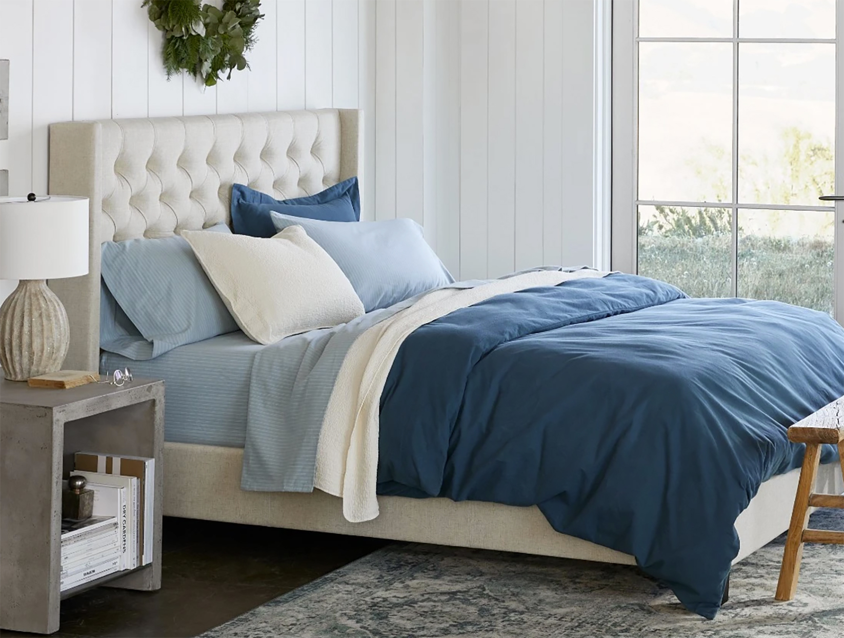 bed styled with cloud brushed eco flannel bedding