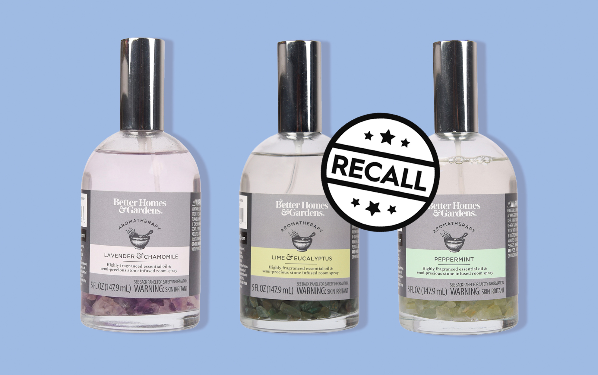trio of better homes and gardens gemstone room sprays being recalled