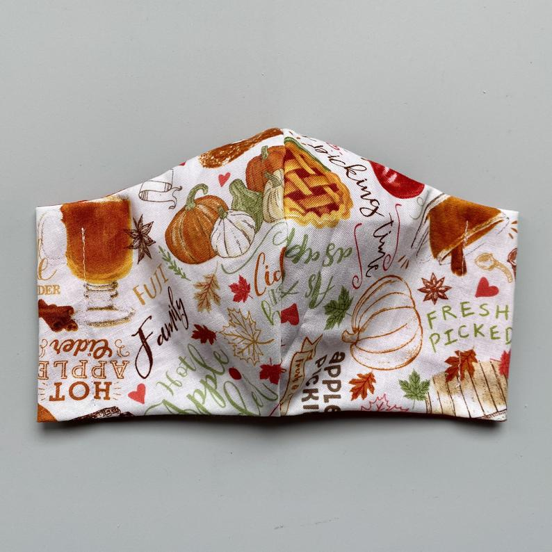 fabric face mask patterned with thanksgiving things