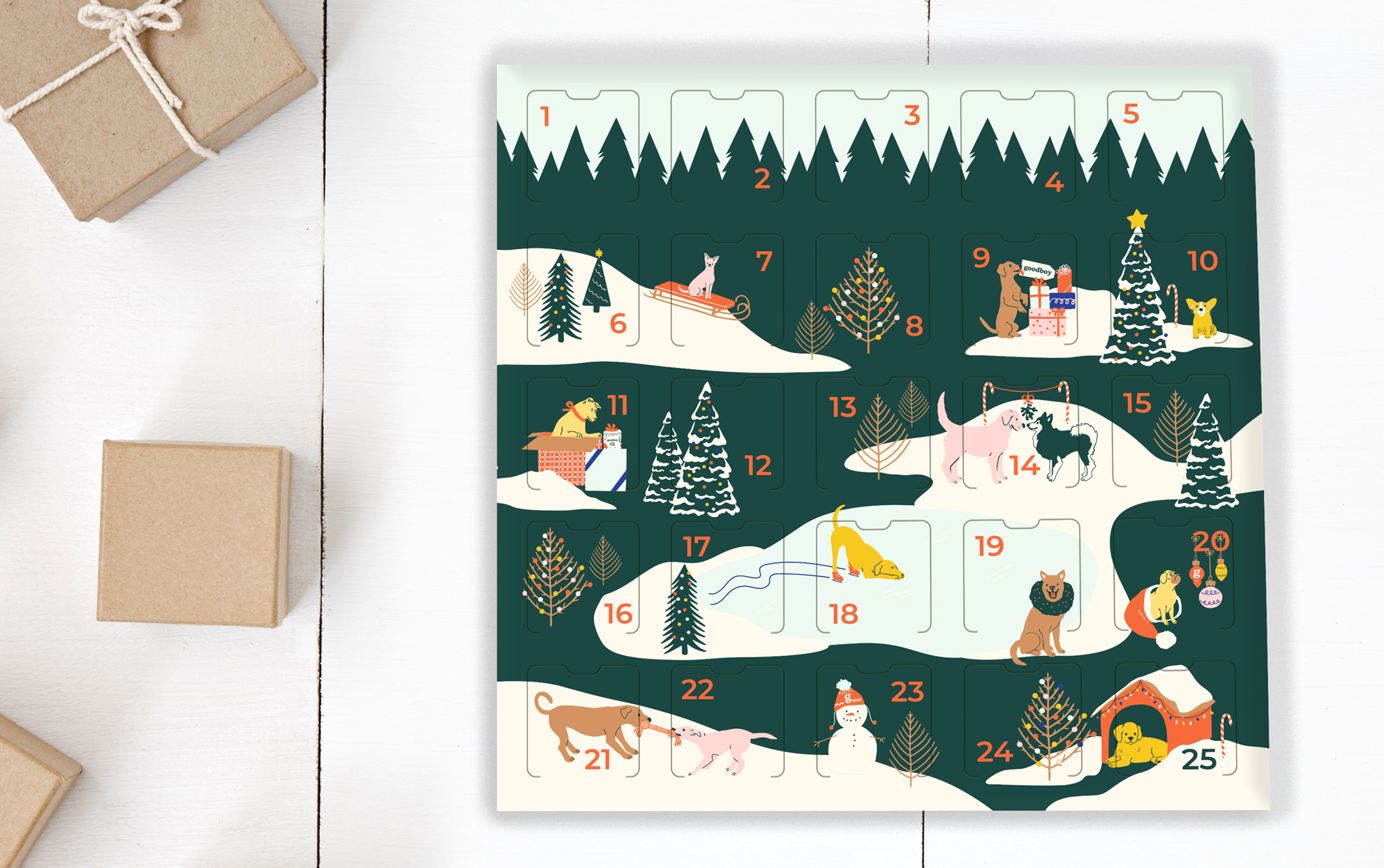 Pet advent calendar with wrapped gifts