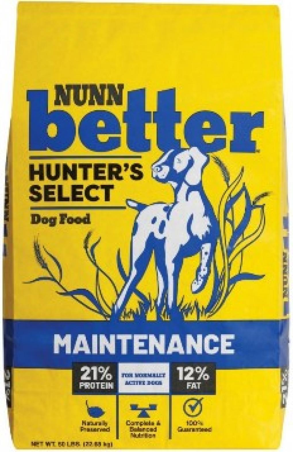 Sportmix Nunn Better Hunter's Select Dog Food label