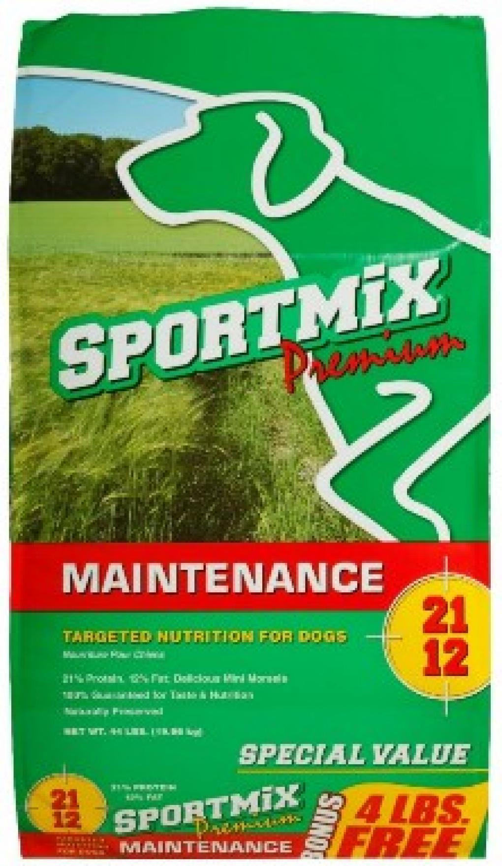 Sportmix Premium Maintenance Dog Food label