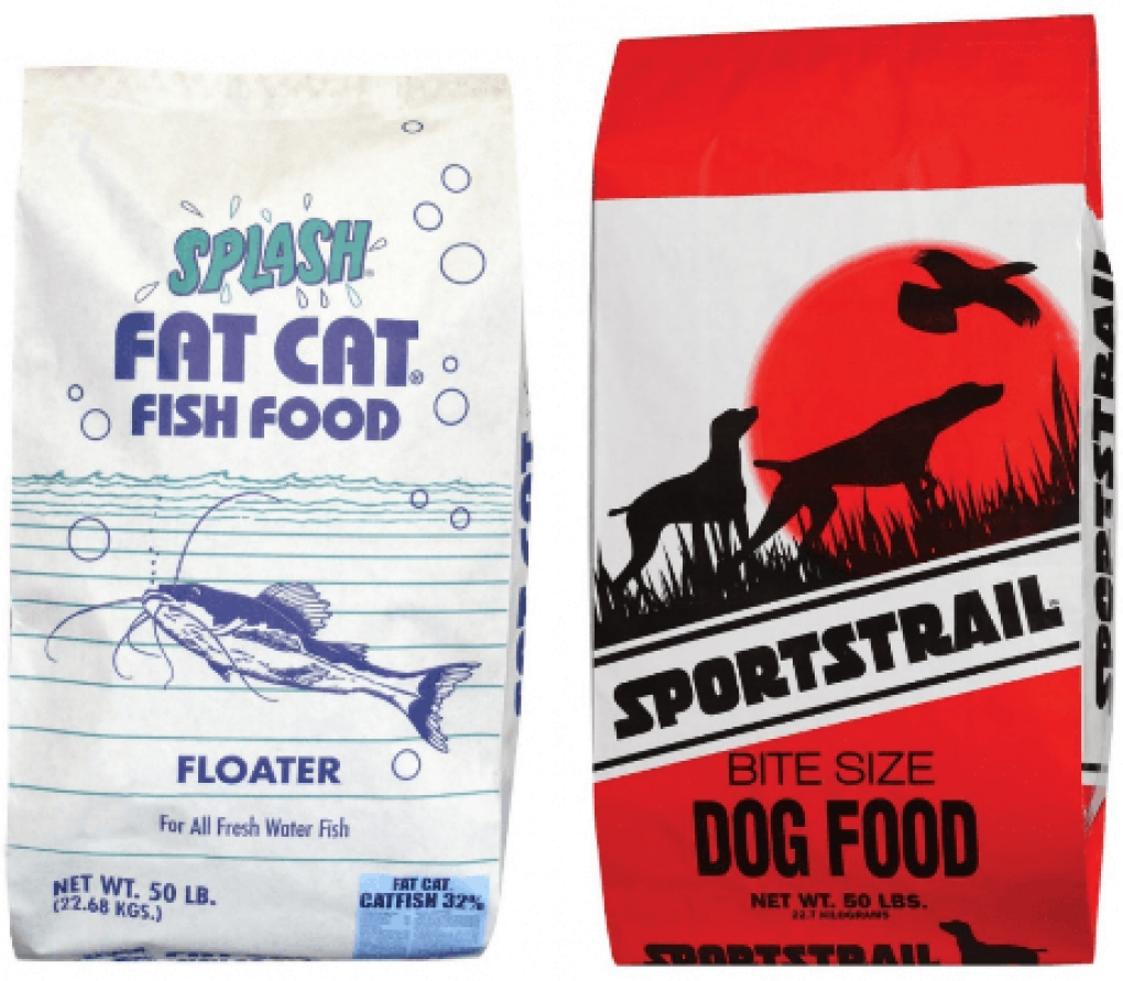 Sportmix Splash Fat Cat Fish Food and Sportstrail Dog Food labels