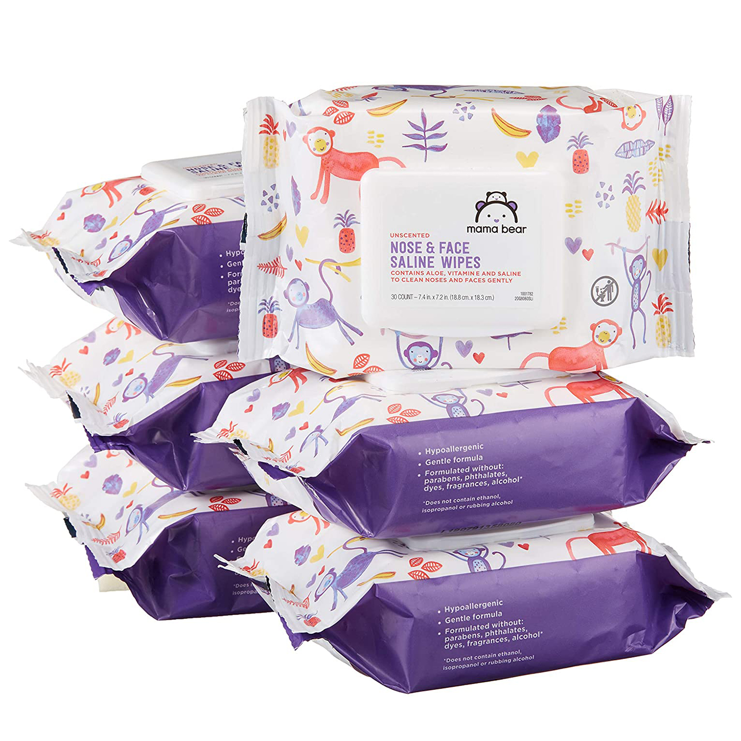 Amazon Brand Mama Bear Saline Nose and Face Baby Wipes