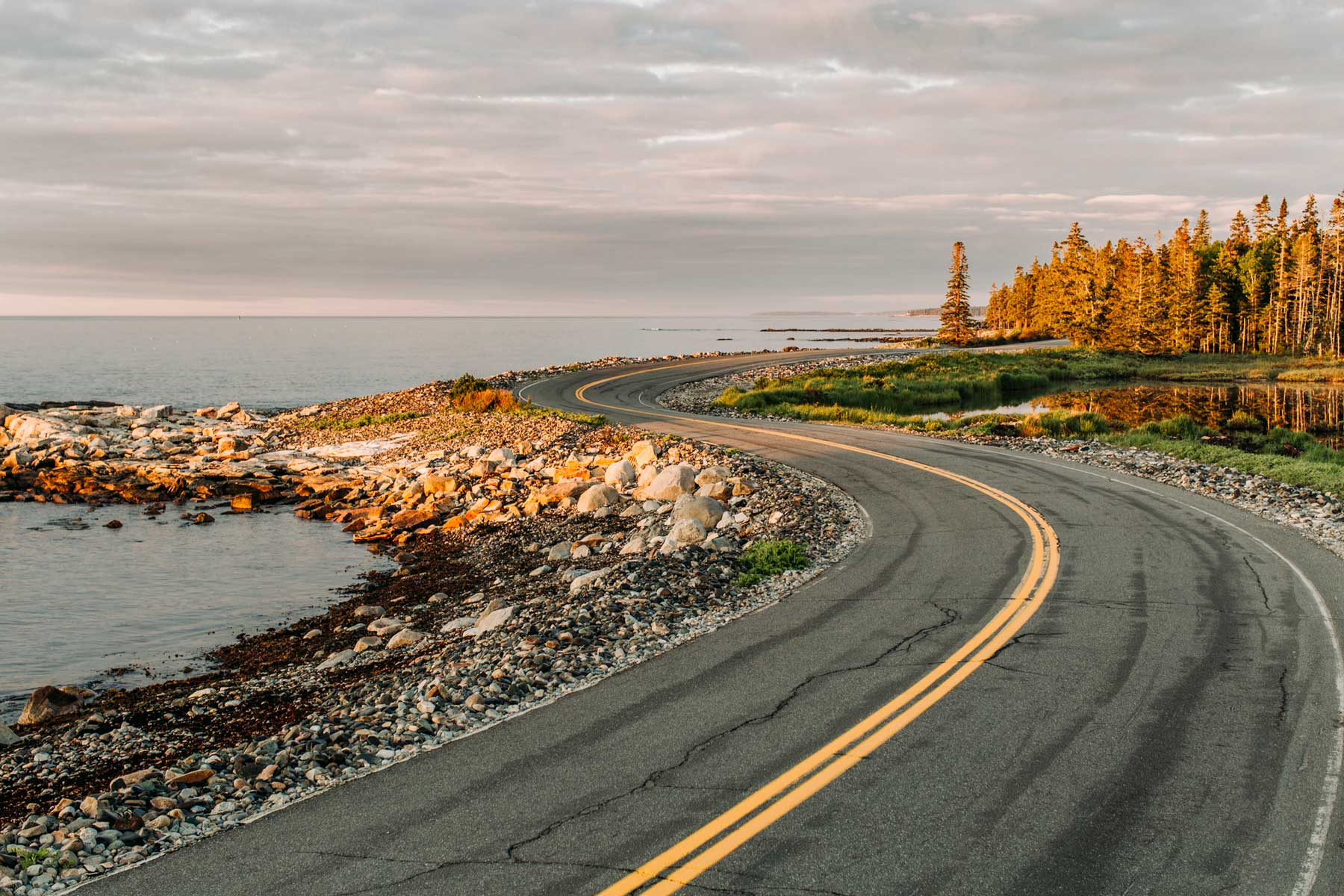 Twisting road hugs shoreline at sunrise, Acadia National Park, Maine