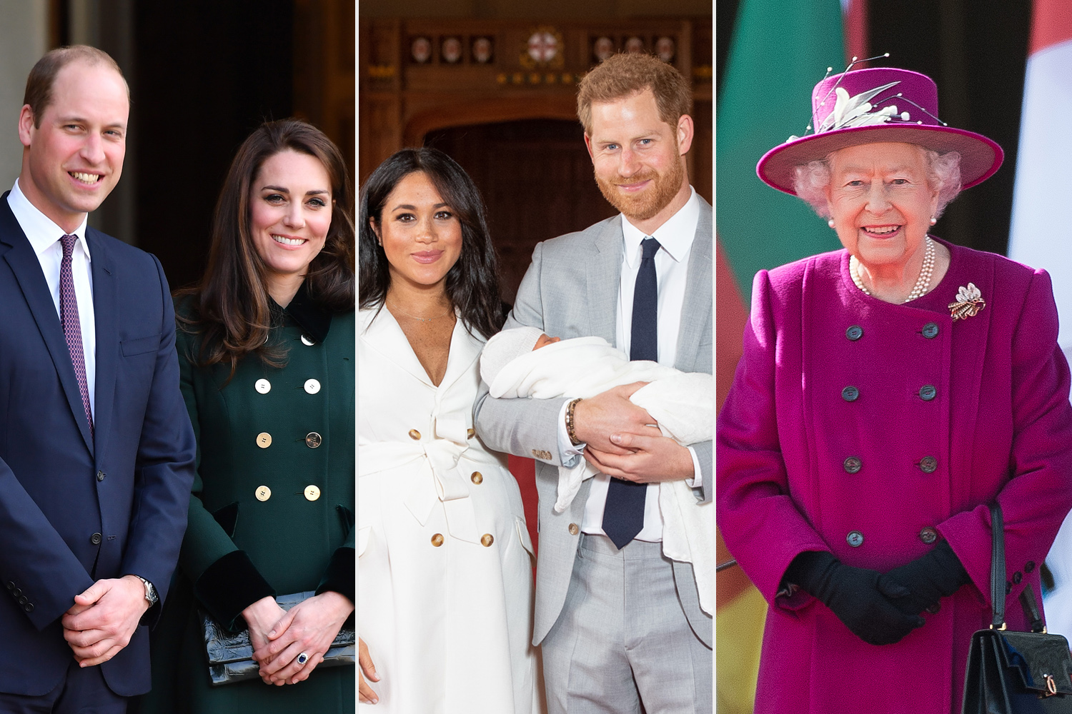Prince William, Duke of Cambridge and Catherine, Duchess of Cambridge; Prince Harry, Duke of Sussex and Meghan, Duchess of Sussex; Queen Elizabeth II