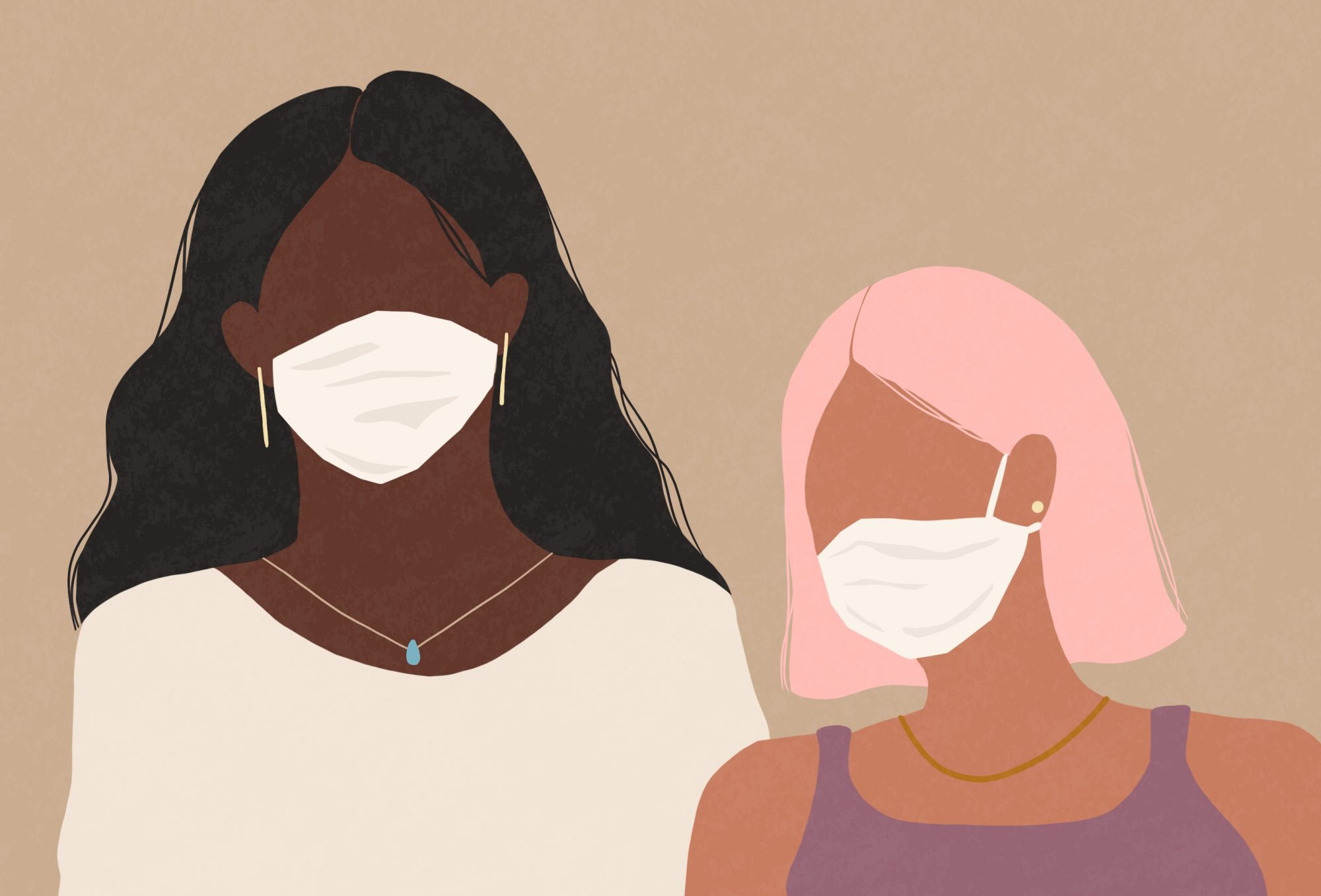 Two women wearing a medical face masks , self-control, covid-19, corona virus, stay home, feeling sick, flu virus, women, medical face mask, face mask, confidence, friends, stress, serious , breathable-protective-masks