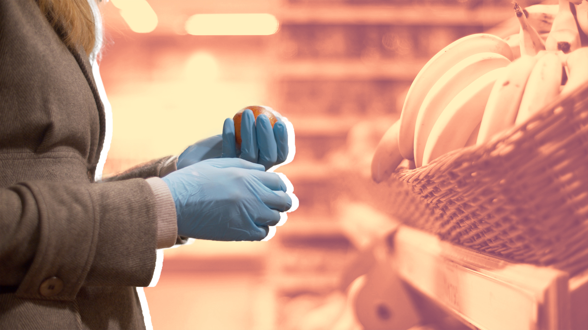 Female hand choosing oranges in the supermarket , grocery-store-gloves-coronavirus , covid-19 , coronavirus , gloves , PPE , grocery-store