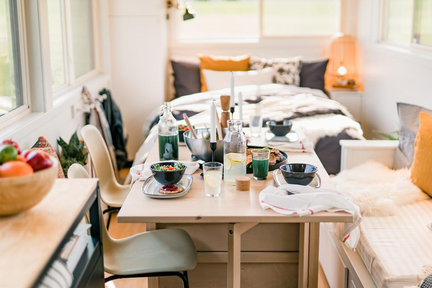 IKEA's Tiny Home view of dining table and bed