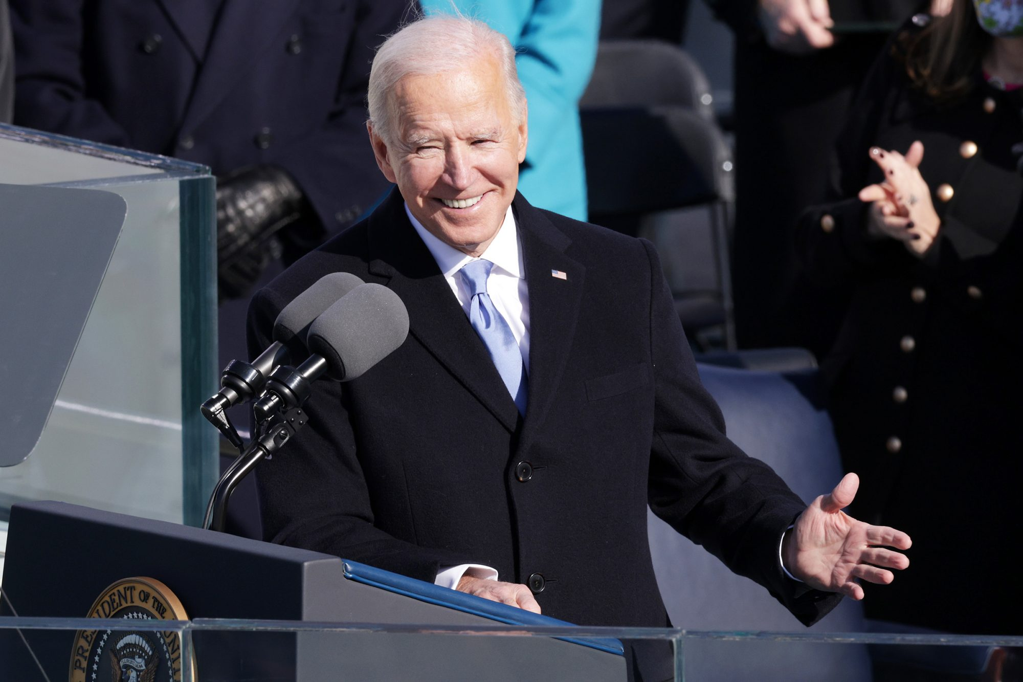 U.S. President Joe Biden delivers his inaugural address on the West Front of the U.S. Capitol on January 20, 2021