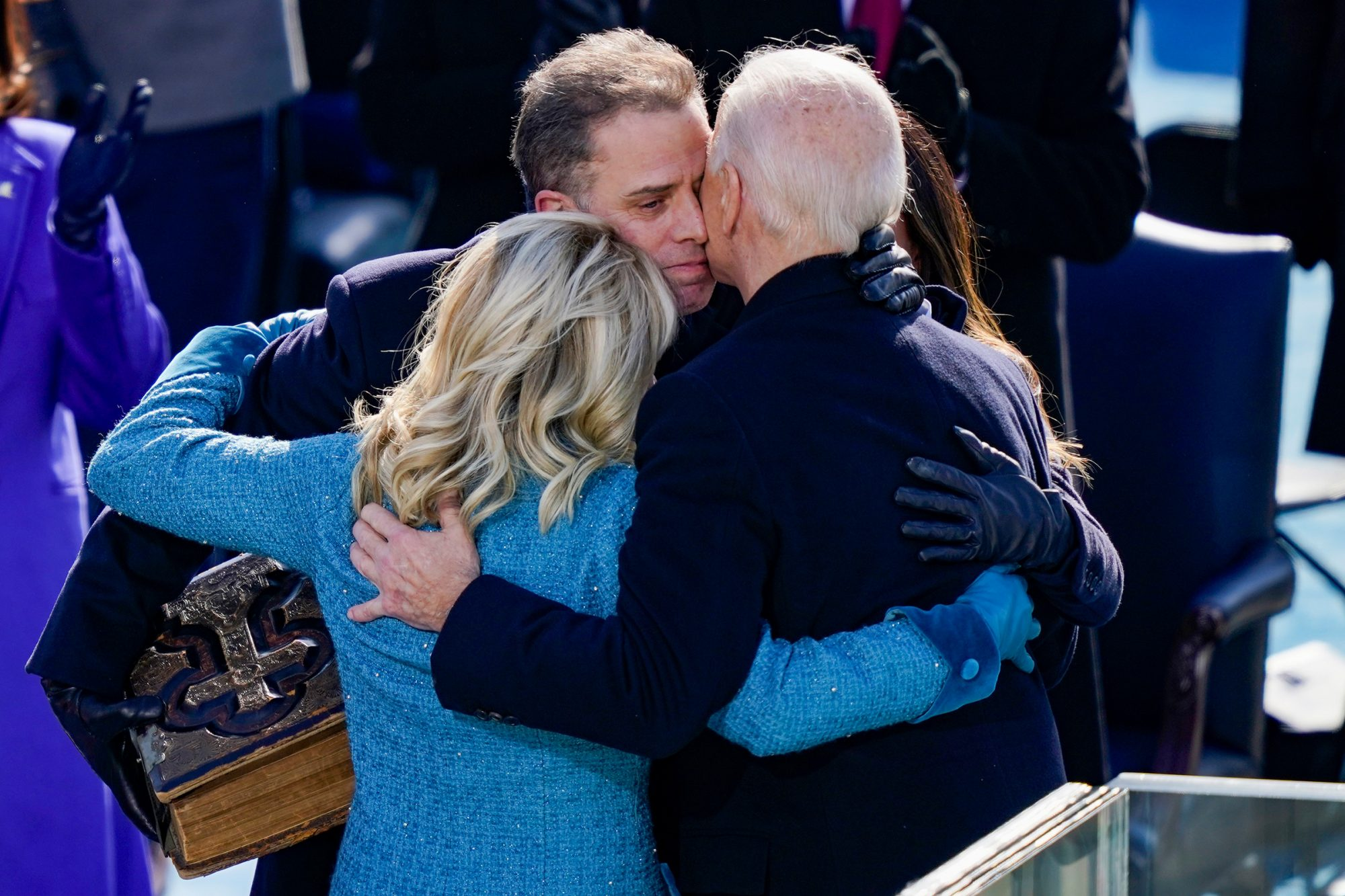 U.S. President Joe Biden embraces his family First Lady Dr. Jill Biden, son Hunter Biden and daughter Ashley after being sworn in during his inauguation on the West Front of the U.S. Capitol on January 20, 2021 in Washington, DC