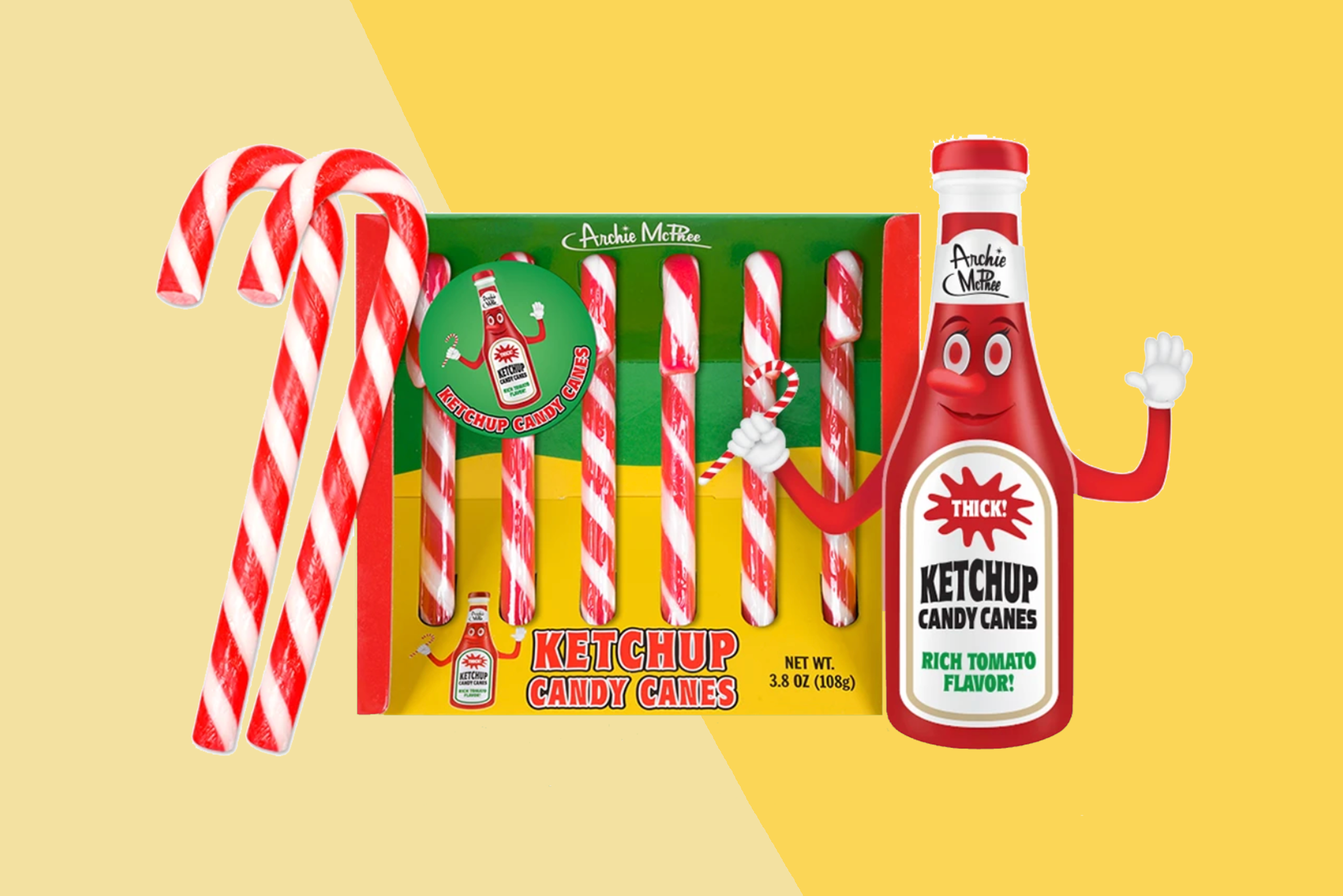 KETCHUP CANDY CANES in a box on a two-tone yellow background with a ketchup bottle mascot