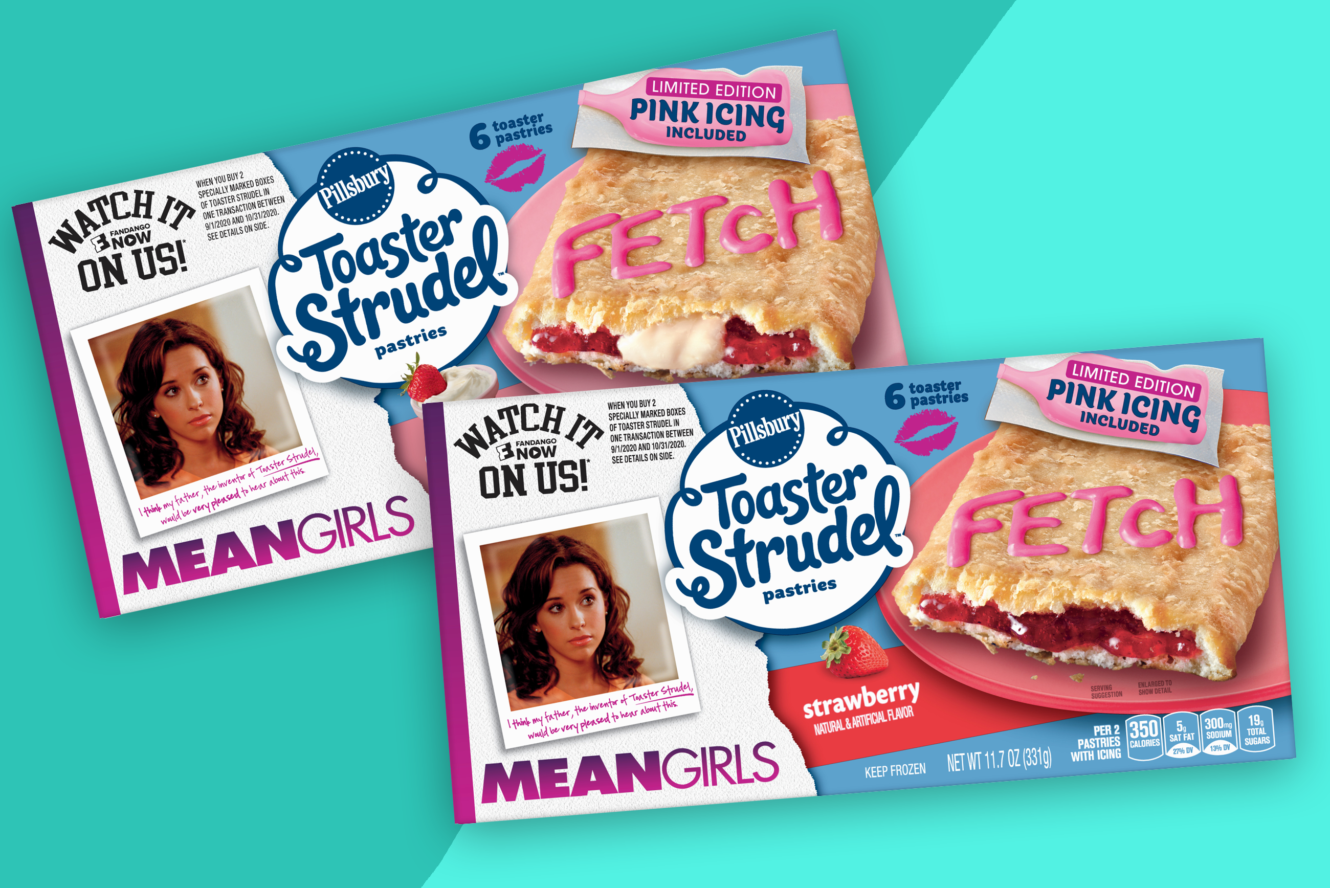 two boxes of Mean Girls Toaster Strudel on a two-tone teal background