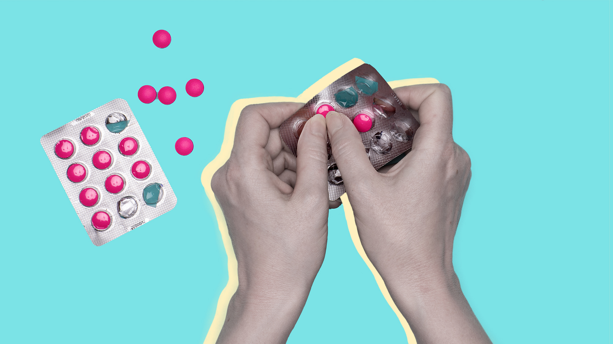 benadryl-tiktok-challenge , Close up of female hands holding blister pack with pink pills over pastel blue background. Sick patient taking medication.