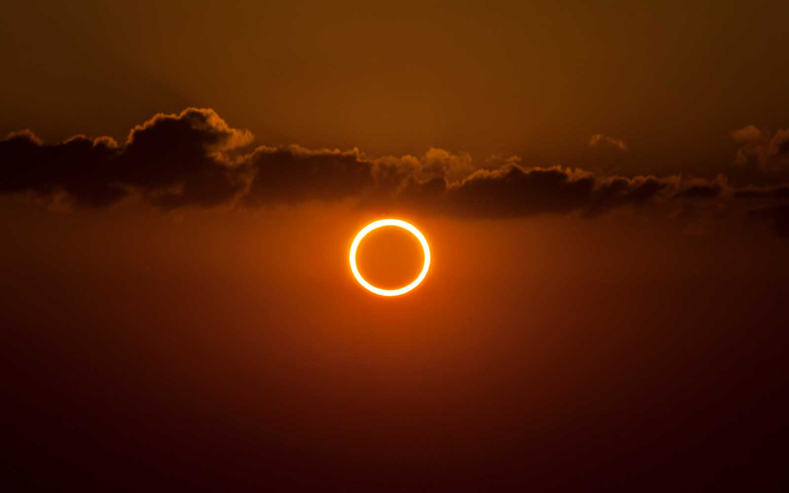 Totality during annular solar eclipse with ring of fire.