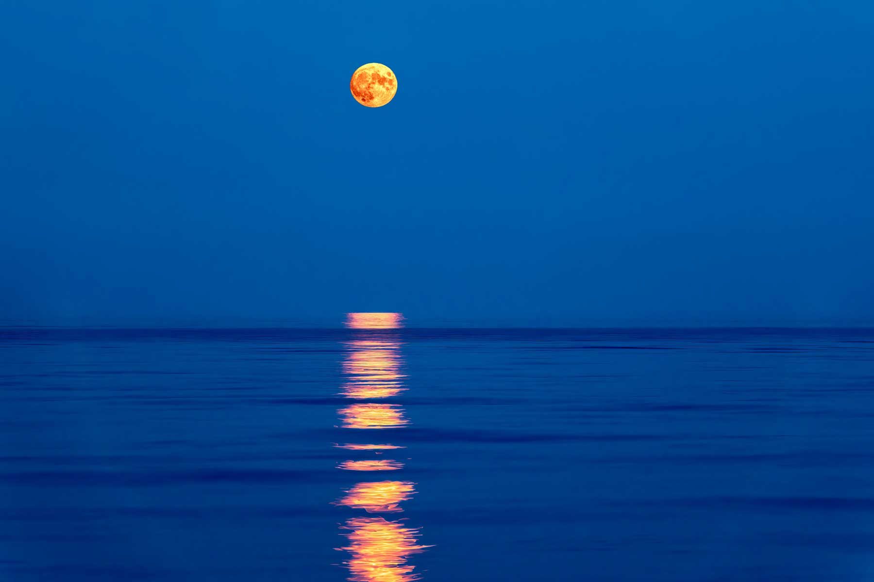 Super full blood moon and moon light over the sea