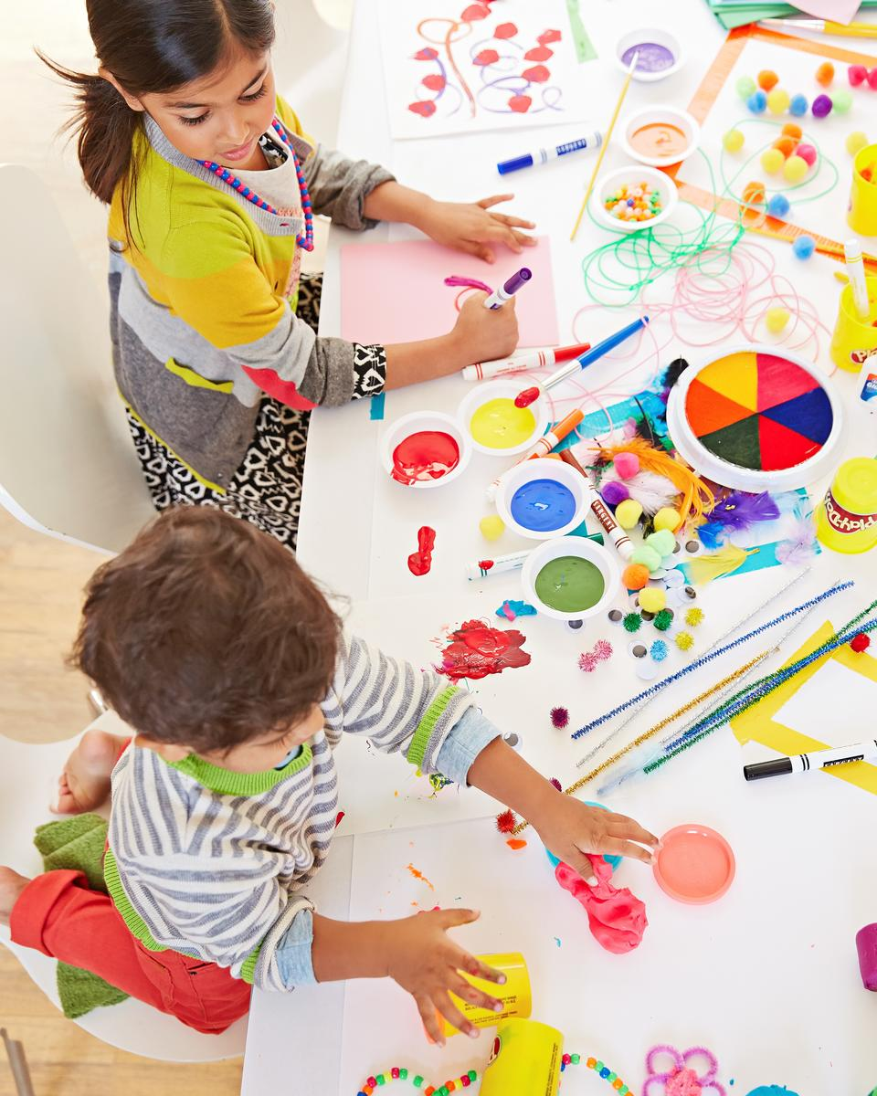 Kids At Table Painting Arts and Crafts