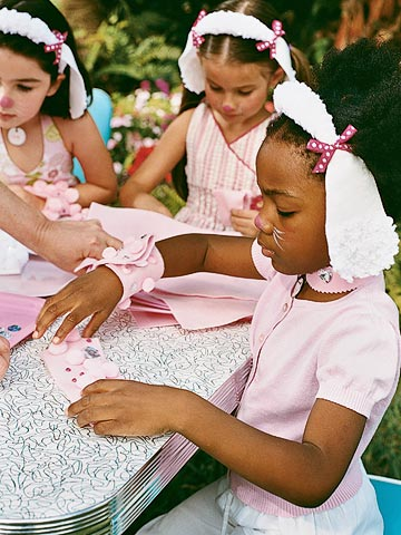 Girls Making Crafts at Pretty Pretty Poodles Birthday Party