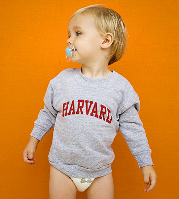 baby in Harvard sweatshirt