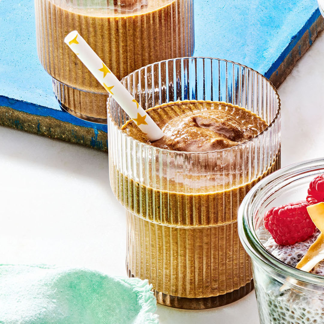Mighty Chocolate Smoothies with star pattern straw