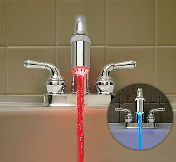 Temperature Faucet Light with red and blue inset