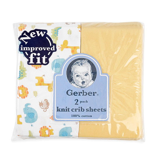 Gerber Yellow Cotton Knit Fitted Crib Sheet