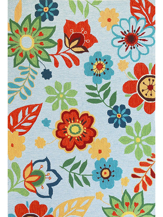 Light Blue Retro Floral Rug by Kas Rugs