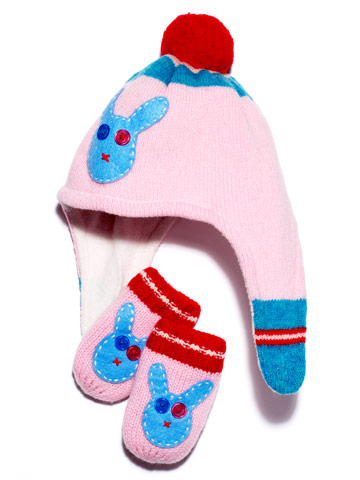 Boden's pink rabbit hat and mittens