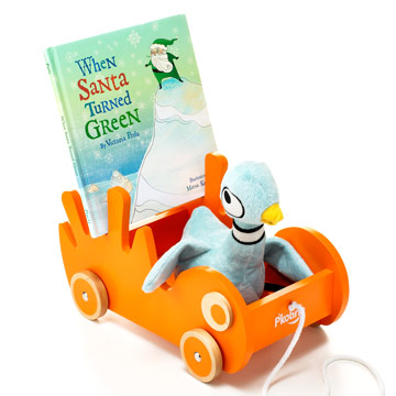 Mo Willems's plush pigeon, When Santa Turned Green, P'kolino's Book Buggee
