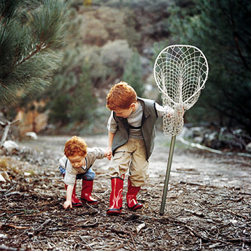 Two boys with fishing net