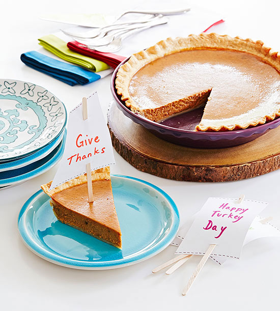 "Pie slice with ""Give Thanks"" sail"