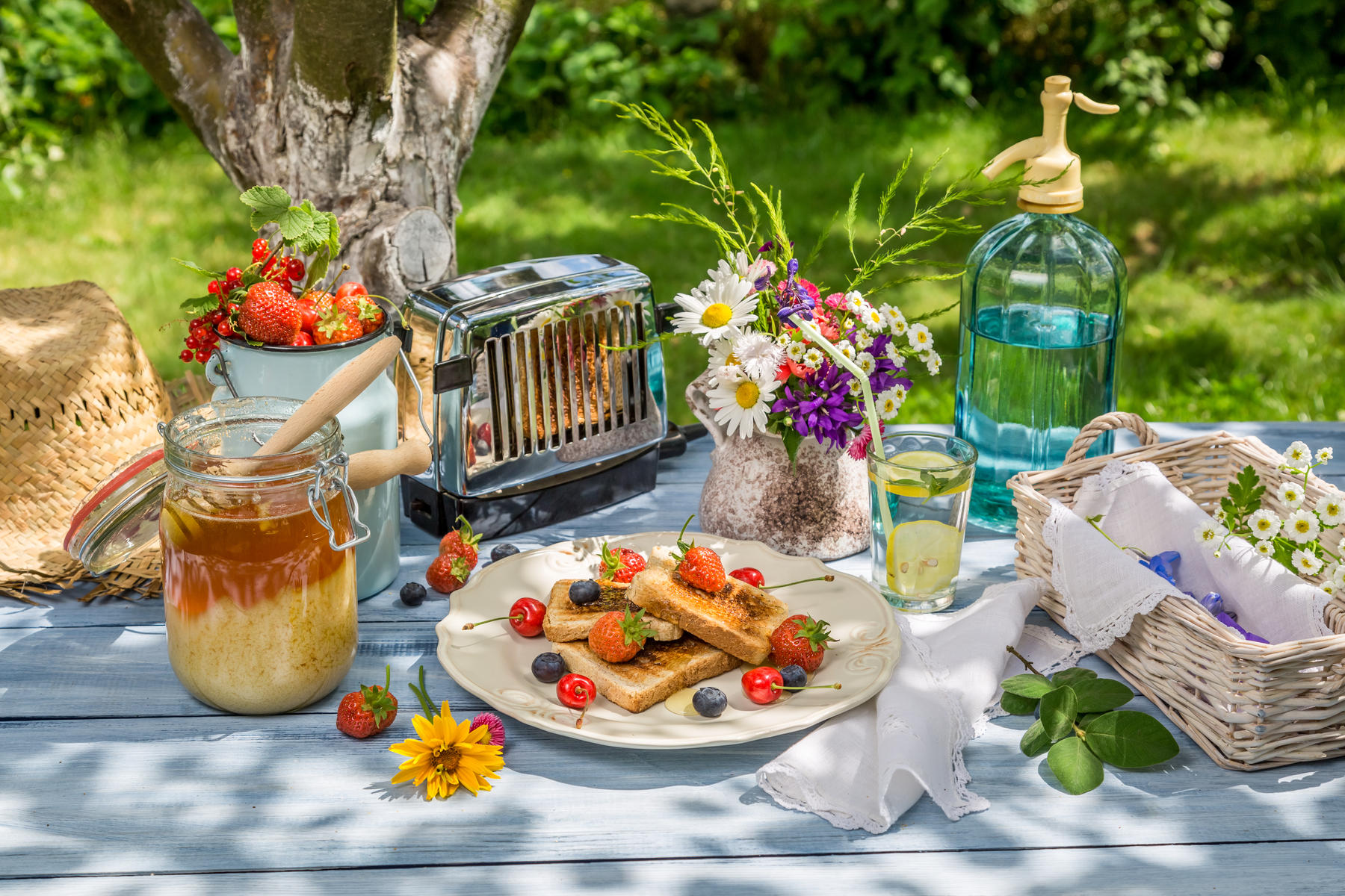 fruit and toast outside