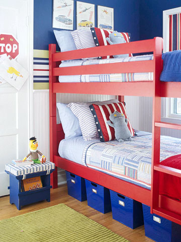 Red bunk beds in transportation theme room