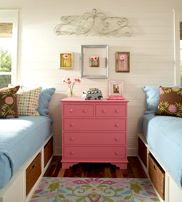 pink and blue shared girls' room