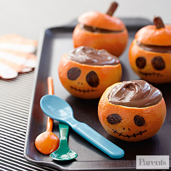 Orange Chocolate Pudding Jack O' Lanterns