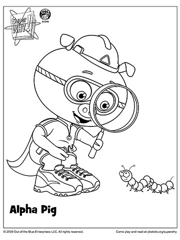 Super Why's Alpha Pig and Bug