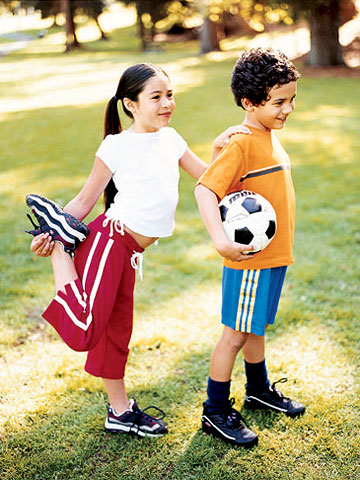 Children stretching for soccer